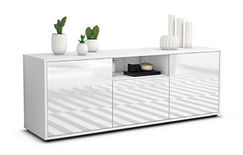 Stil.Zeit TV Schrank Lowboard Andreana, Korpus in Weiss matt/Front im Hochglanz Design Weiß (135x49x35cm), mit Push to Open Technik, Made in Germany