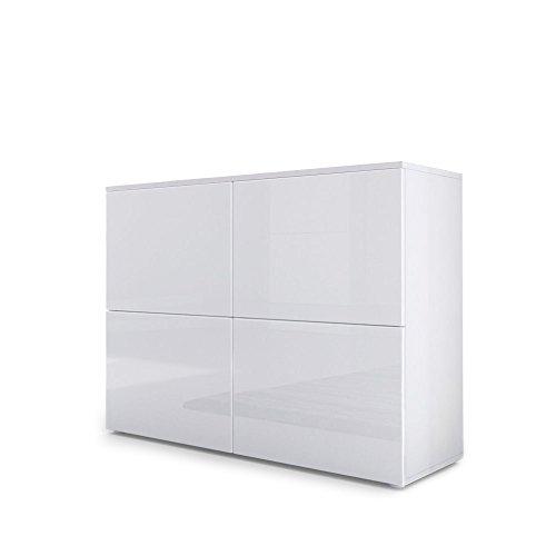 Cómoda Rova, Cuerpo en Blanco Mate/Puertas en Blanco de Alto Brillo