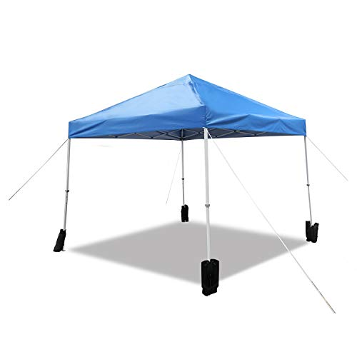 Amazon Basics Outdoor Pop Up Canopy, 10ft x 10ft with Wheeled Carry Bag, 4-pk weight bag, Blue