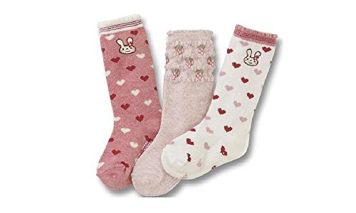 Colourful Baby World Filles Enfants Chausettes Lot de 3 Rose Fraise Rayure 1 An à 7 Antidérapant - Multicolore, 3-5 years old