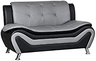 Kingway Furniture Gilan Faux Leather Living Room Loveseat in Black and Gray