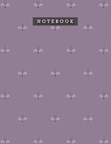 Notebook French Lilac Color Cute Smile Foxes Patterns Cover Lined Journal: Weekly, 8.5 x 11 inch, Planning, A4, Do It All, Diary, 110 Pages, Meal, 21.59 x 27.94 cm, Personal