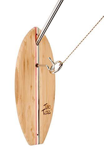 Tiki Toss Hook and Ring Toss Deluxe Game - 100% Bamboo with 5 Ft Telescoping Pole (Americana Edition)