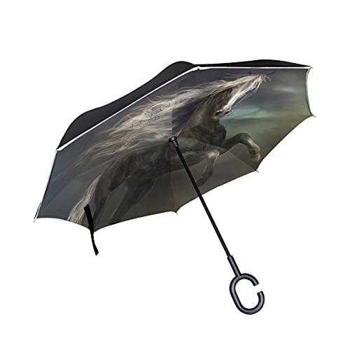 hengpai Lindo gato blanco gordito invertido adentro hacia fuera paraguas coches unigue a prueba de viento UV doble capa para las mujeres