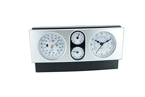 Modern Design 4 in 1 Quartz Desk Shelf Office Clock with Thermometer Barometer and Hygrometer Weather Station