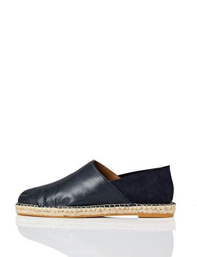 FIND Soft Back Leather Espadrilles, Blau (Navy), 37 EU