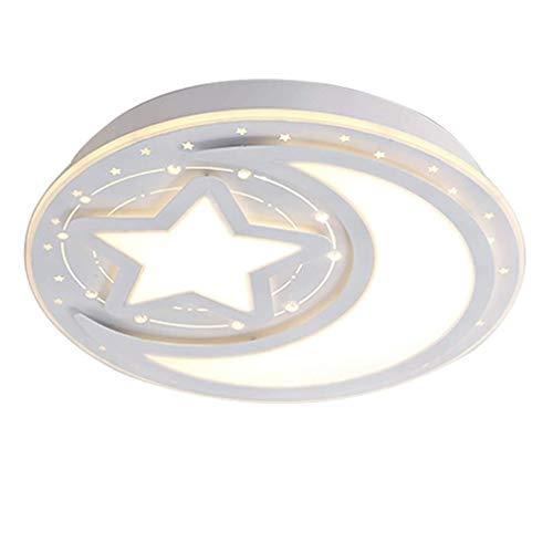 Lampe de plafond à LED pour enfants chambre garçon fille chambre plafonnier lampe métal anneaux acryliques étoile lune luminaire salon Dimmable commutateur cuisine intérieur éclairage 40 * 15cm 24W
