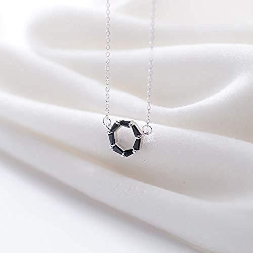 GLLFC Collar para Mujer Collar Hombre S925 Moda para Mujer Temperamento Collar de Plata Anillo de Diamante Negro Pequeño Collar Redondo Fresco Collar Colgante Niñas Niños Regalo