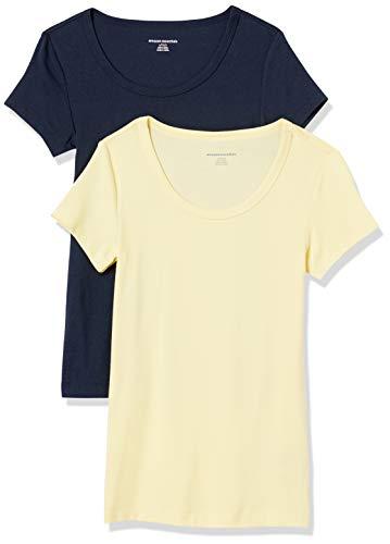 Amazon Essentials Women's 2-Pack Slim-Fit Cap-Sleeve Scoopneck T-Shirt, Yellow/Navy, Medium