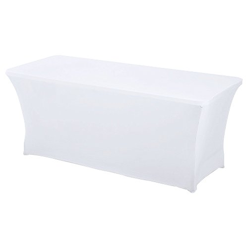 HAORUI Spandex Lycra Elástica 180×76×76cm Cubierta de Mesa Paño de Rectangular Adecuado a la Mesa de Banquetes Matrimonial Mesa de Caballetes(180*76*76cm Blanco)