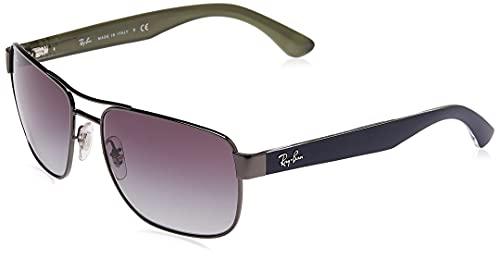 Ray-Ban Men's RB3530 Metal Polarized Square Sunglasses, Gunmetal/Gray Gradient, 58 mm