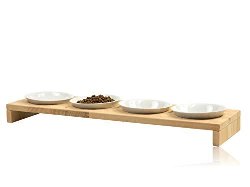 FINDAL - Katzennapf 4er Set aus Holz Buche mit 4 weißen Keramik Schalen, Futternapf für Katze & Hund erhöht, Fressnapf Futterstation spülmaschinenfest & flach für Trockenfutter, Nassfutter & Wasser