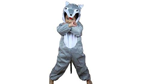 Niños Disfraces de Animales Niños Niñas Unisex Disfraces Cosplay Niños Onesie (Lobo, M (para niños de 90 a 105 cm de Altura))