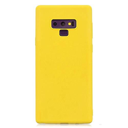 cuzz Funda para Samsung Galaxy Note 9+{Protector de Pantalla de Vidrio Templado} Carcasa Silicona Suave Gel Rasguño y Resistente Teléfono Móvil Cover-Amarillo