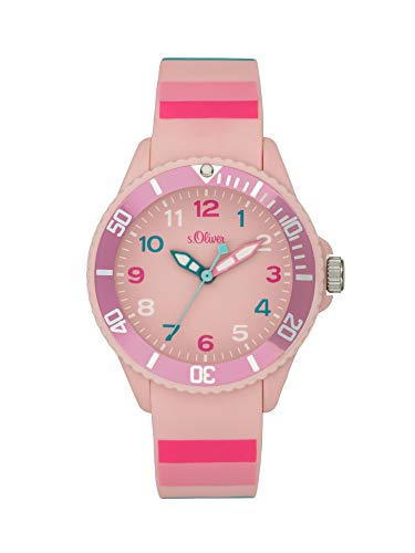 s.Oliver Mädchen Analog Quarz Uhr mit Silicone Armband SO-4003-PQ