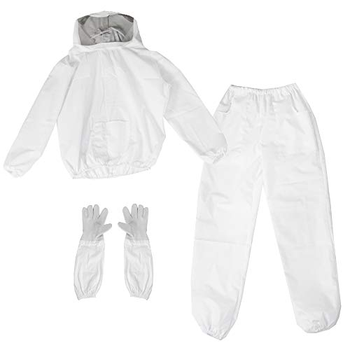 VIVO Professional Large Beekeeping Jacket, Pull Over, Smock with Veil, Pants, and Gloves with Sleeves Combo Set BEE-KIT-53L