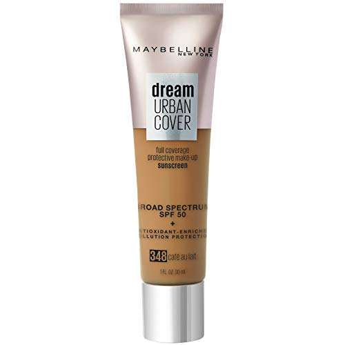 Maybelline Dream Urban Cover Flawless Coverage Protective Makeup, Liquid Foundation, Sunscreen, with Broad Spectrum SPF 50 & Antioxidant-Enriched Pollution Protection, Cafe Au Lait, 1 fl. oz.