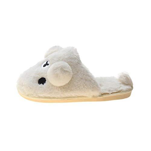 N/W Zapatillas de Mujer, Zapatillas de Felpa navideñas, Zapatillas Casuales de Mujer-White_36
