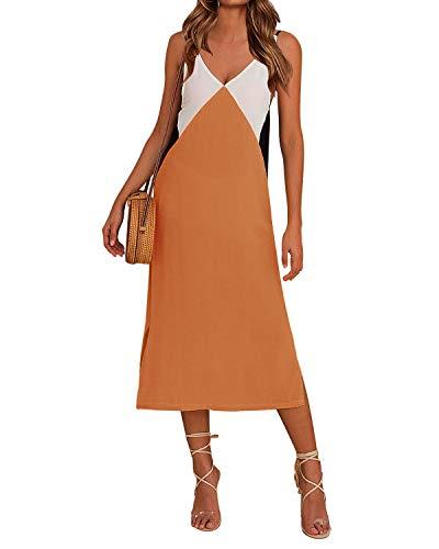 Auxo Damskie sukienki maxi bez rękawów kwiatowy nadruk seksowna sukienka na co dzień luźna lato boho plaża długie sukienki kaftan