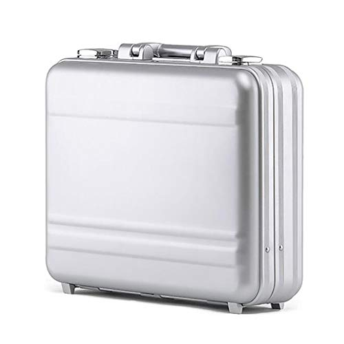 MYDZ Storage Bins Aluminum Briefcase Portable Lockbox Business Briefcase Computer Box File Box Withdrawal Of Equipment Toolbox (Color : Silver, Size : 46 * 35 * 115cm)