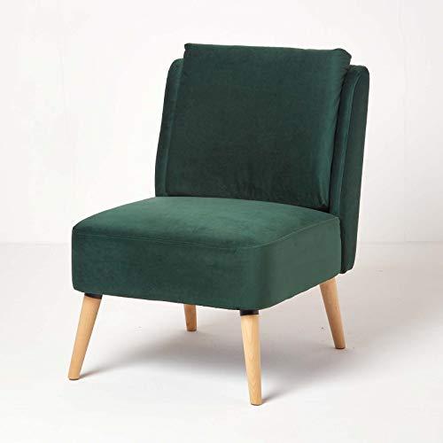 Homescapes Designer Samt Sessel skandinavisches Design, Moderner Fernsehsessel/Lesesessel/Relaxsessel ohne Armlehne mit Massivholz Füße und bequemer Polsterung, Dunkelgrün