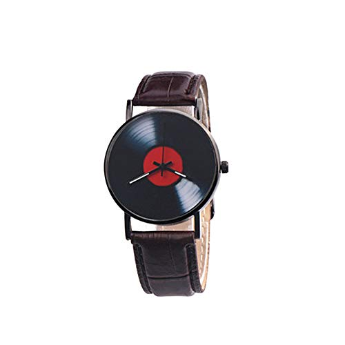 Zwbfu Unisex Casual Banda de Cuero Retro Reloj de Cuarzo Moda clásico Fonógrafo Registro Reloj