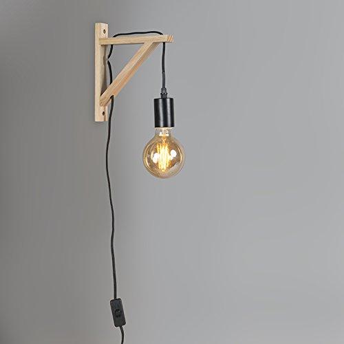 QAZQA Moderne Applique Murale bois avec bourreau noir Naturel,Noir Autres E27 Max. 1 x 25 Watt/Luminaire/Lumiere/Éclairage/intérieur/Salon/Cuisine