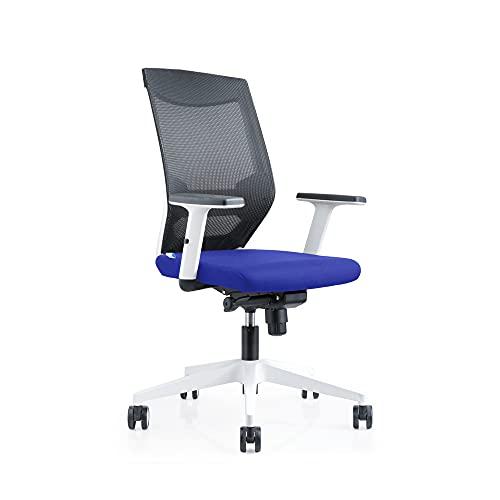 Rocada Sedia da ufficio con regolazione lombare, in tessuto ignifugo, robusta e confortevole, colore blu