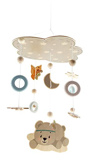 Hess Holzspielzeug 10273 - Mobile aus Holz, Bär nature, zum Aufhängen über dem Bett oder der Wickelkommode, ca. 32 x 50 cm
