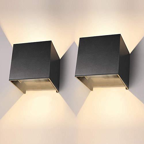 Applique da Esterno/Interno 2 pezzi 12W Applique da Parete Interno 3000K IP65,Lampada da Parete Per Soggiorno, Camera da Letto, Corridoio, Scale, Sala da Pranzo.
