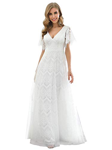 Ever-Pretty Women's Lace Wedding Dress for Bride Long Formal Occasion Gowns White US8