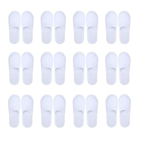 kuou 12 Pairs Disposable Spa Slippers, Closed Toe White Slippers Spa Hotel Guest Slippers for Girls Women and Men