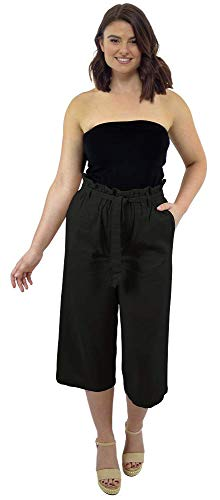 CityComfort Dames papieren zak taille 3/4 lange zomerbroek van linnen | vakantieoutfit voor vrouwen | trendy hoge taille met plooien omgezoomd