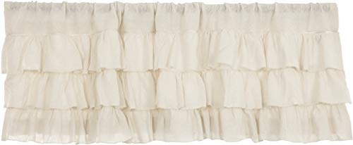 "VHC Brands Country Kitchen Curtains Rod Pocket Farmhouse Burlap Antique White Ruffled Valance 16"" x 60"""
