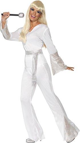 Smiffy's Smiffys-22170M Disfraz de discotequera de los 70, con Top, Pantalones y cinturón, Color Blanco, M - EU Tamaño 40-42 22170M