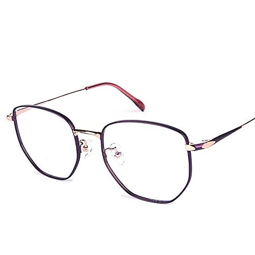 CAOXN Gafas De Lectura De Luz Anti-Azul para Mujer, Lentes De Resina Que Bloquean La Fatiga, Montura Poligonal, Lentes Ópticas para Presbicia, Hipermetropía,Púrpura,+1.00