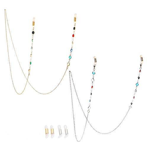 Jurxy 2PCS Catena per Occhiali Supporto per Cinturino da Sole Cordino per Cordoncini in Vetro da Lettura Collana di Perline ritenuta Vista in Metallo Accessori Moda Collana Lunga - Oro e Argento
