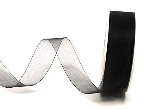 SCHLEIFENBAND Organza 50m x 25mm SCHWARZ Organzaband Geschenkband DEKOBAND Trauerband TRAUERSCHLEIFE Antennenband