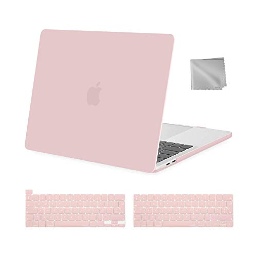 MOSISO MacBook Pro 13 inch Case 2016-2020 Release A2338 M1 A2289 A2251 A2159 A1989 A1706 A1708, Plastic Hard Shell Case&Keyboard Cover&Wipe Cloth Compatible with MacBook Pro 13 inch, Rose Quartz