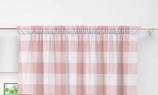 Curtain Valance in Pink Buffalo Plaid by Twig + Bird Handmade in America