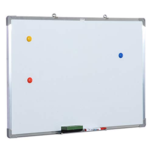 HOMCOM Whiteboard Magnettafel Wandtafel Weißwandtafel magnetisch mit Alurahmen inkl. Boardmarker Boardlöscher und Haftmagneten 90x60cm