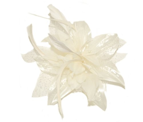 (Cream,) - Pretty Cool - Flower & Feather Fascinator