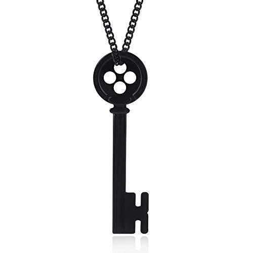 guodong Película Coraline Botón Negro Llave Collar De Calavera Colgantes Magic Santa Key Gargantilla Kingdom Hearts Hombres Regalo De La Joyería