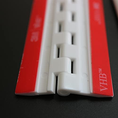4x Blanco Bisagras acrílicas: no se requiere pegamento. Autoadhesivas. Plástico Blanco acrílico 75mm