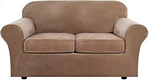 WLVG 1,2,3 Funda de sofá elástica para Sala de Estar, con 2 Fundas de cojín Independientes, Funda para Muebles con Fondo elástico, Protector Antideslizante para Muebles (Camel, 2 plazas (122-172