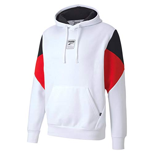 PUMA Herren Rebel Hoodie S Logo FL Pullover, White, M