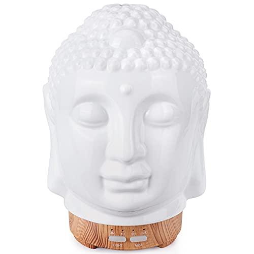 Cerámica Humidificador Aceites Esenciales,100ml Difusor Ultrasonico de Aceite Esenciales de Cabeza de Buda,Difusor de Aromaterapia con Modo de Niebla Ajustable,7 Luces LED de Color,Decoración Ze
