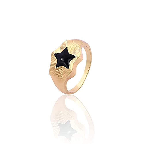 DGSDFGAH Ring For Women Black Cute Metal Ring For Men And Women Star Ring Party Jewelry Gift Jewelry