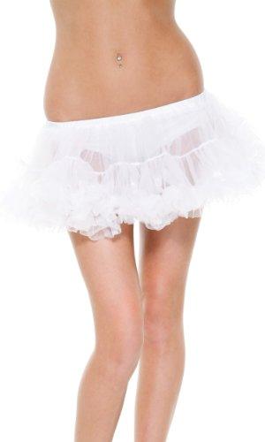 Forplay Women's Petticoat Ruffle Trim, White, Medium/Large