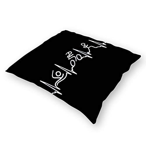 Throw Pillowcase Plush Pillowcase Super Soft Pillow Cover Case For Holding Pillow Double-Sided Triathlon Heartbeat Vintage (18''×18'')